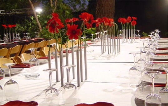 Groups of Magnetic Vases used as table decorations