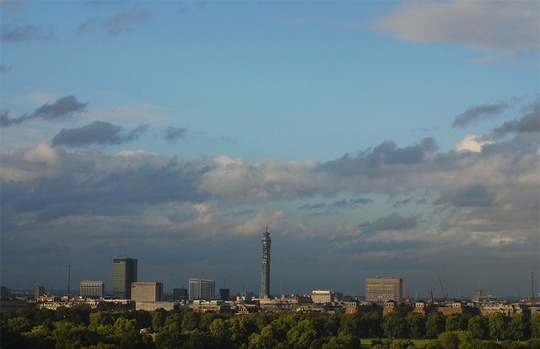 A view of the London skyline including the BT Tower
