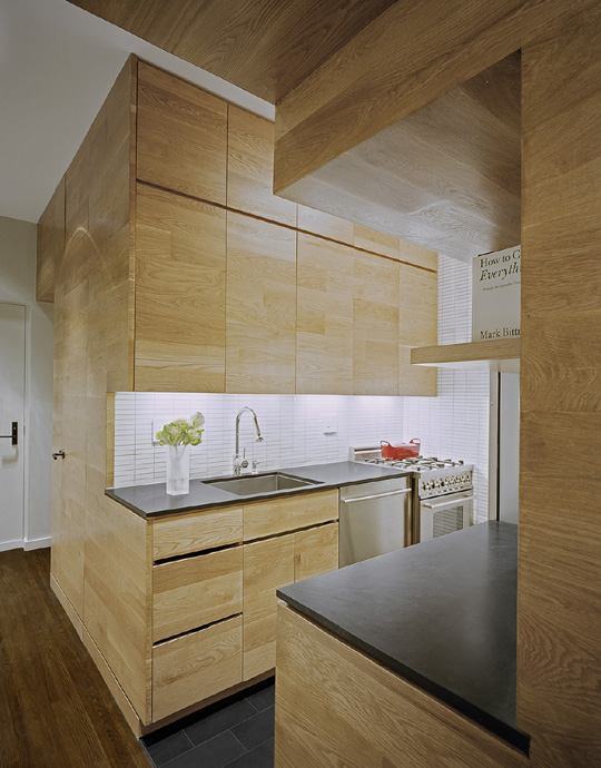 kitchen in the small apartment with wood cupboards to ceiling