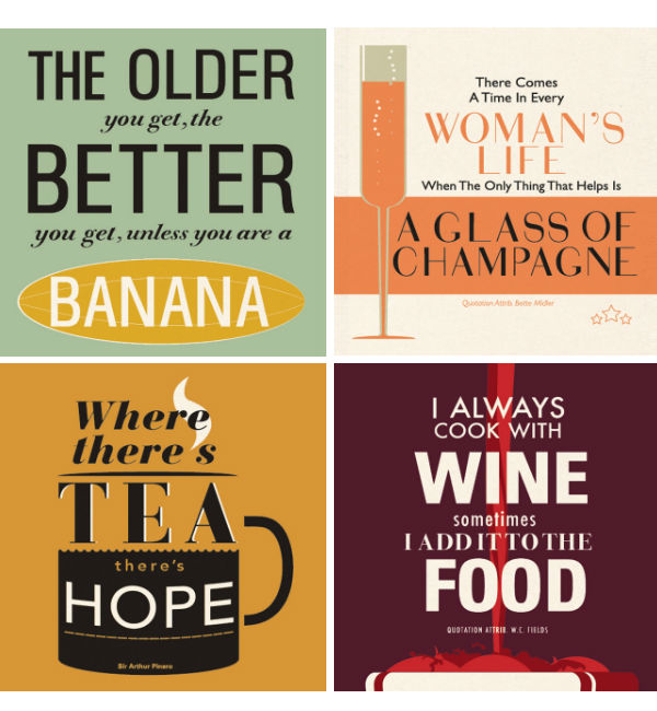 Vintage style typography tea towels from Mocha