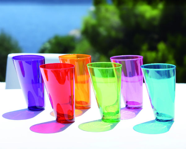 Multi-coloured glassware from Mocha