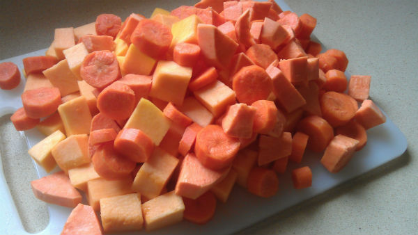 Chopped vegetables for Orange Vegetable Soup - healthy lunch ideas from Mocha