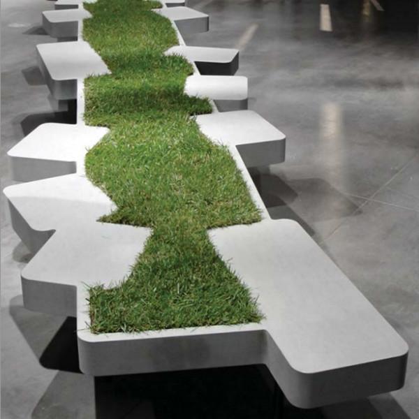 Saturnia Grass Bench Nature Biophilic Design Mocha