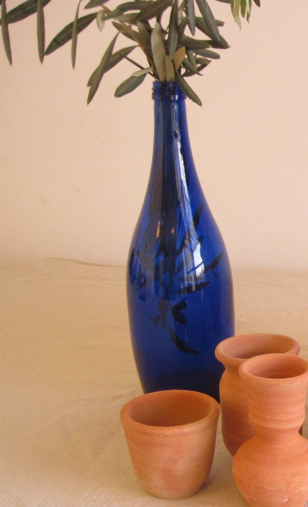 cobalt blue bottle - mediterranean styling from Mocha