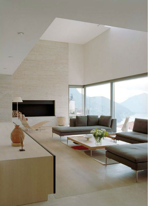 minimalist living room with B&B Italia sofas by Antonio Citterio