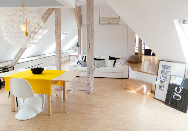 this flat in the attic of an old tenement house in poland was designed