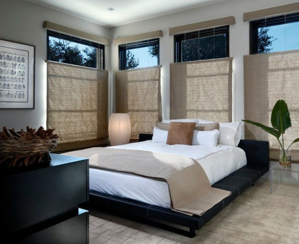 Luxurious bedroom with natural elements