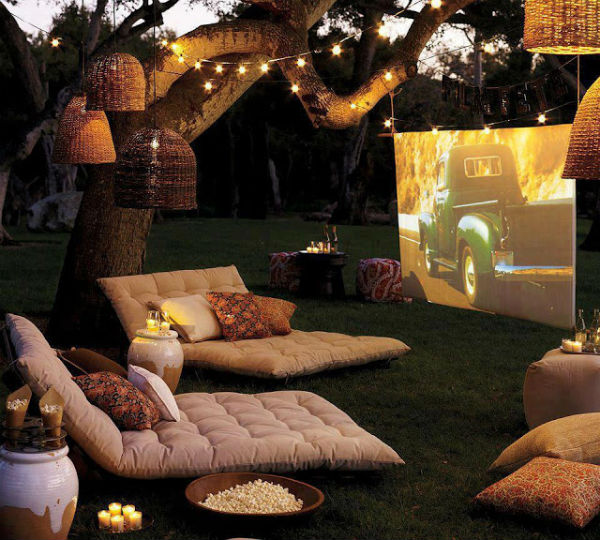 Outdoor living room cinema