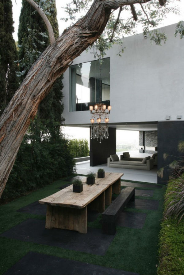 Outdoor space with hanging chandelier