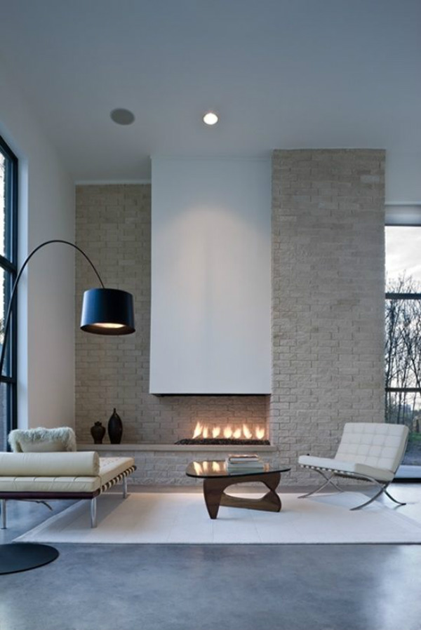 Minimalist lounge and fireplace