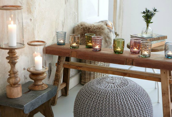 Hygge interior with candlelight