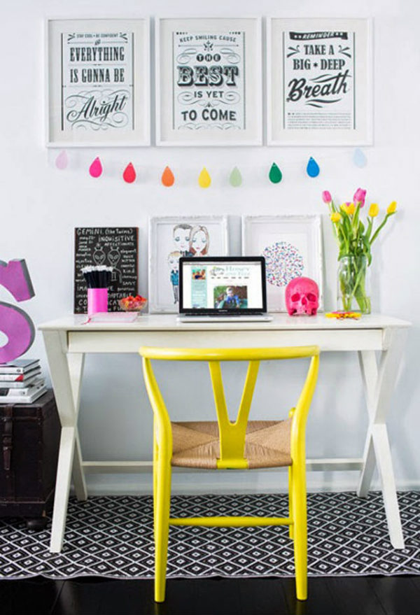 Home office with yellow accents