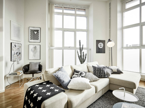scandinavian design lounge with reading nook