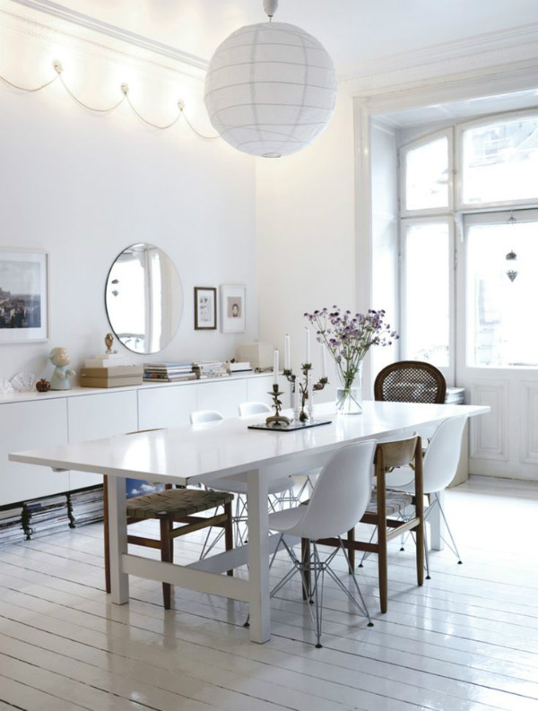 Scandinavian homes decorating with white