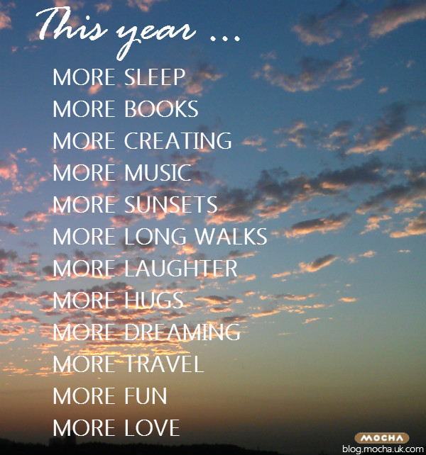 New year resolutions, more sleep, more books, more creating