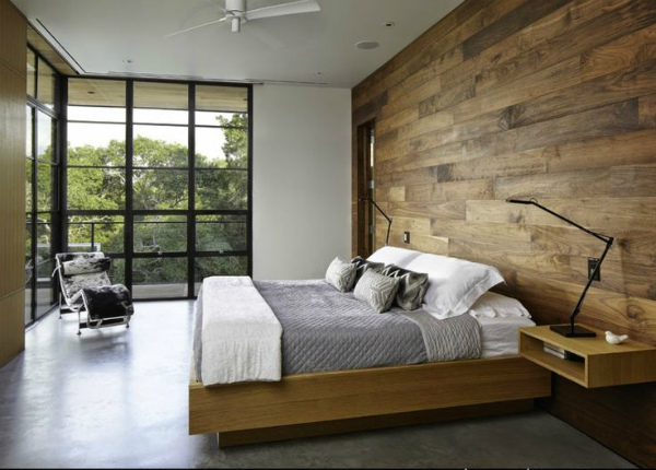 Bedroom design with wood panel