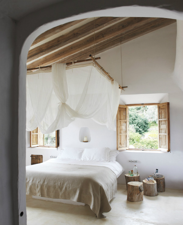 Mediterranean style biophilic bedroom design with light and air
