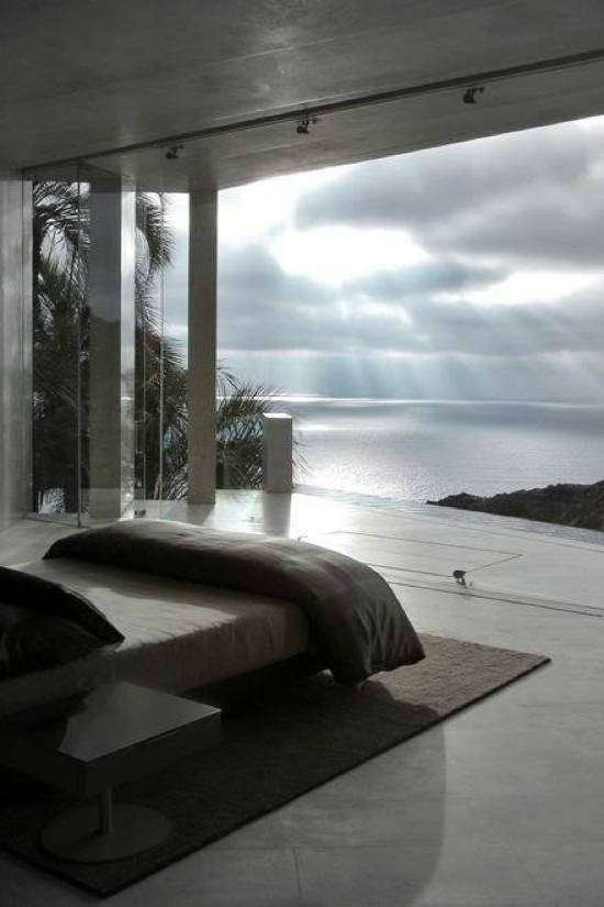 Biophilic design - bedroom with a view of the sea