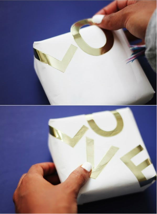 Gold foil love gift wrapping for Valentine's Day