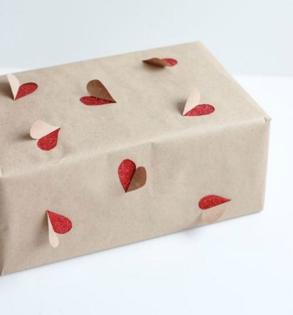 Heart cut out gift wrapping for Valentine's Day