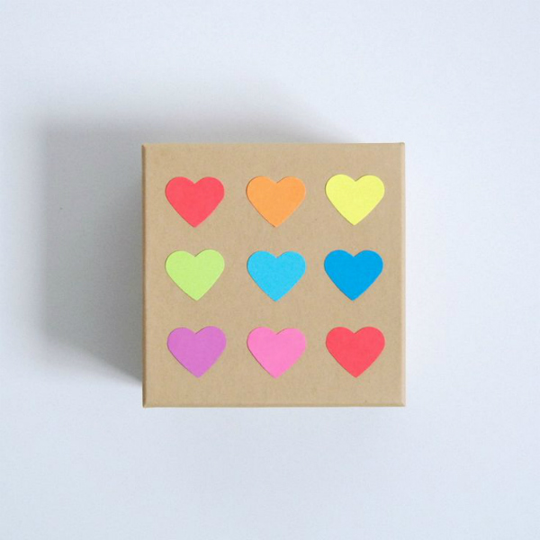 Kraft gift box with multi-coloured hearts for Valentine's Day