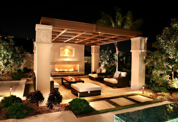 Outdoor Fireplace In Outdoor Living Room