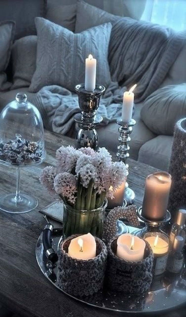 Candles and hygge in the living room