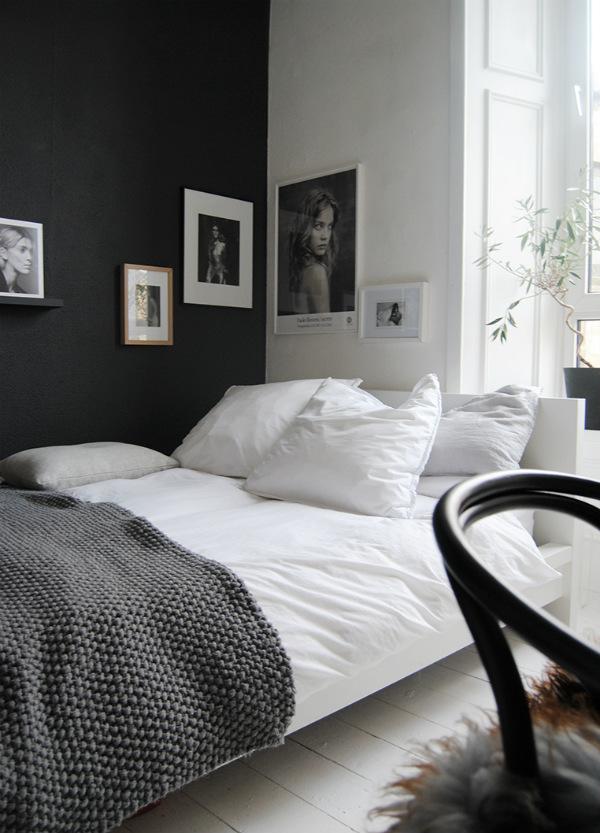 Scandinavian bedroom in white, grey and black