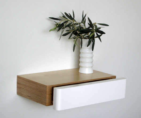 Pacco Floating Drawer in Birch White from Mocha Casa