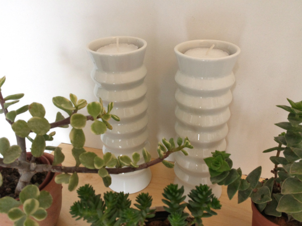 Plants and candle holders plant shelfie from Mocha