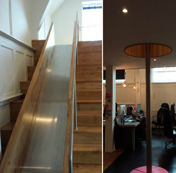 Office with slide on the stairs and a fireman's pole in Dublin office - Irish Design