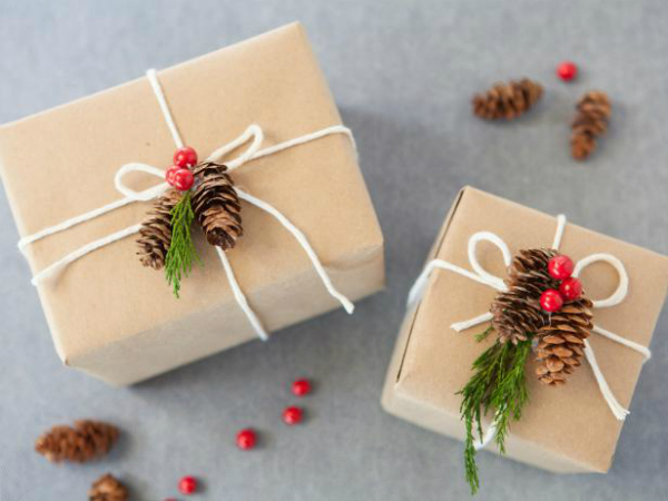 Christmas gift wrapping with nature elements