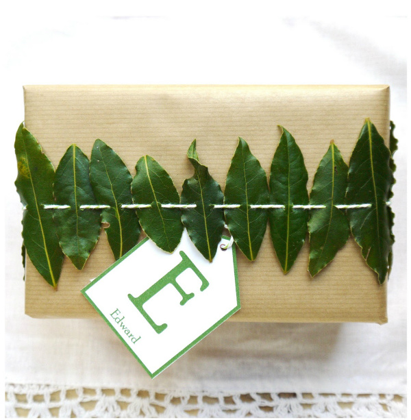Bay leaves gift wrap