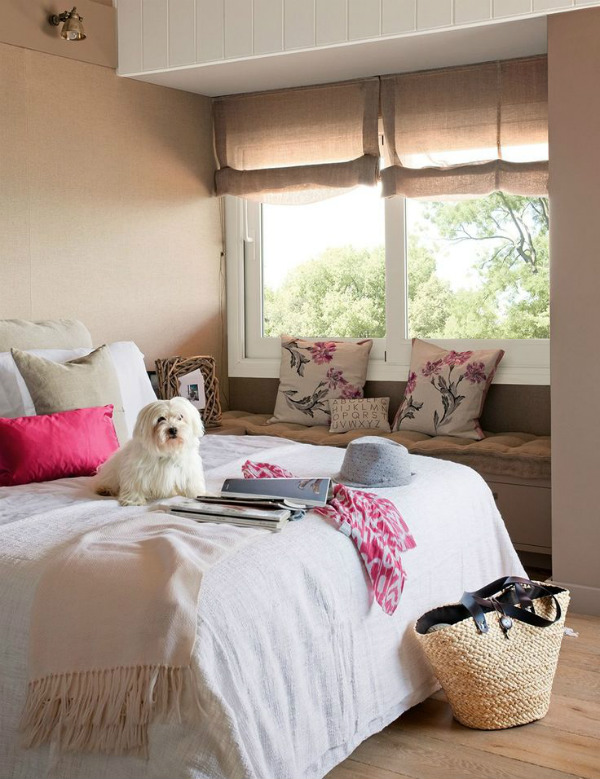 Bedroom Inspired By Nature With Cute White Dog