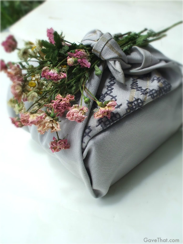 Furoshiki gift wrap with dried flowers