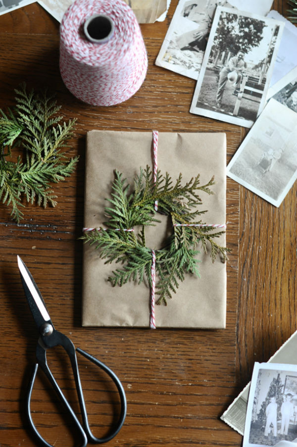 Gift wrap with mini evergreen wreath