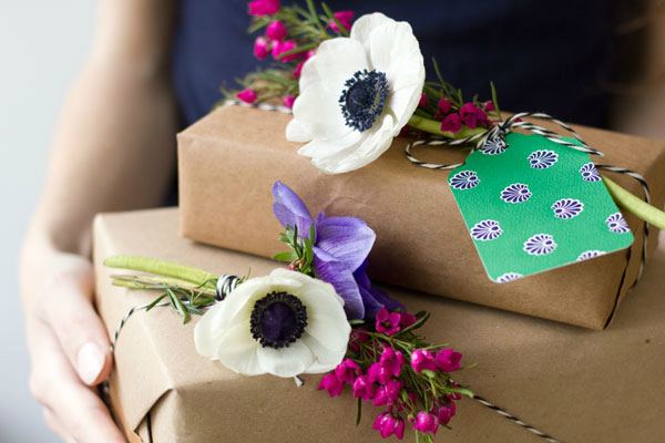 Gift wrap with fresh flowers