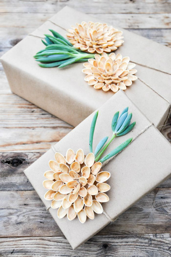 Pistachio flower and succulent sprig gift wrap