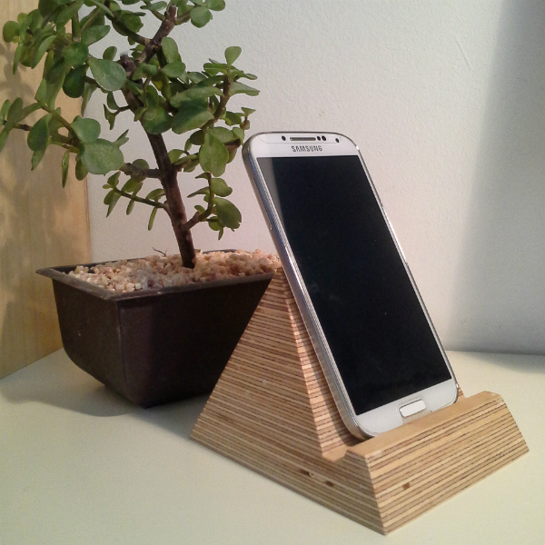 Pyramid Phone Holder and plant