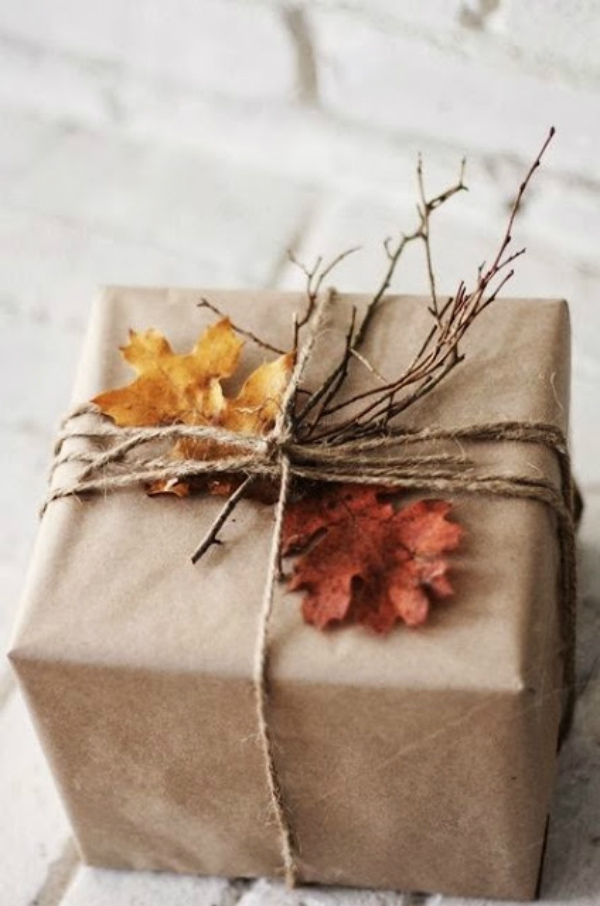 Rustic autumn leaves, twigs and kraft paper gift wrap