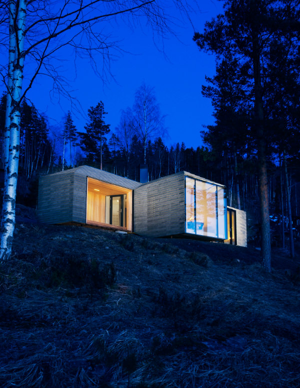 Minimalist Scandinanvian Cabin Norderhov at night in the woods with a view of nature