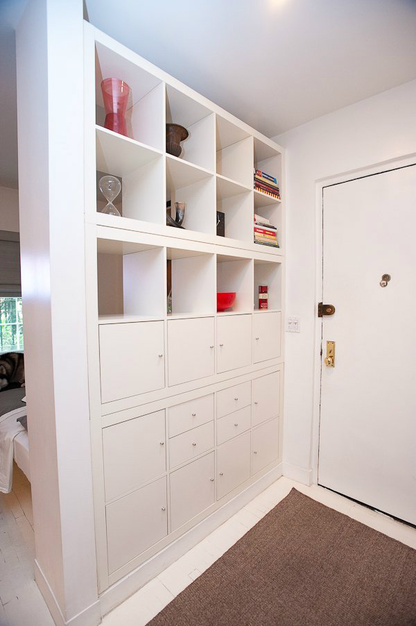 Ordinaire Shelving Unit As Room Divider To Define Hallway