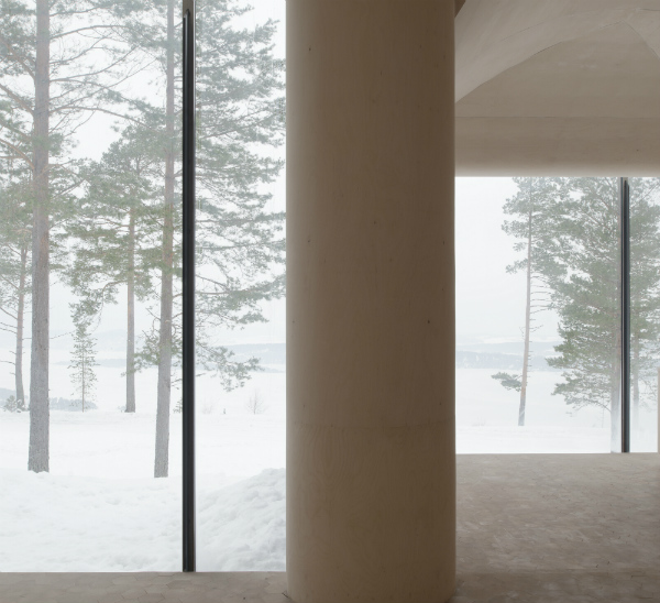Snowy view from the windows of Cabin Norderhov