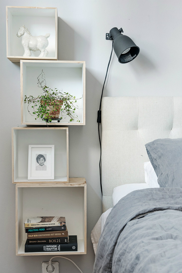 Box Shelves As Bedside Tables For Small Spaces Part 57