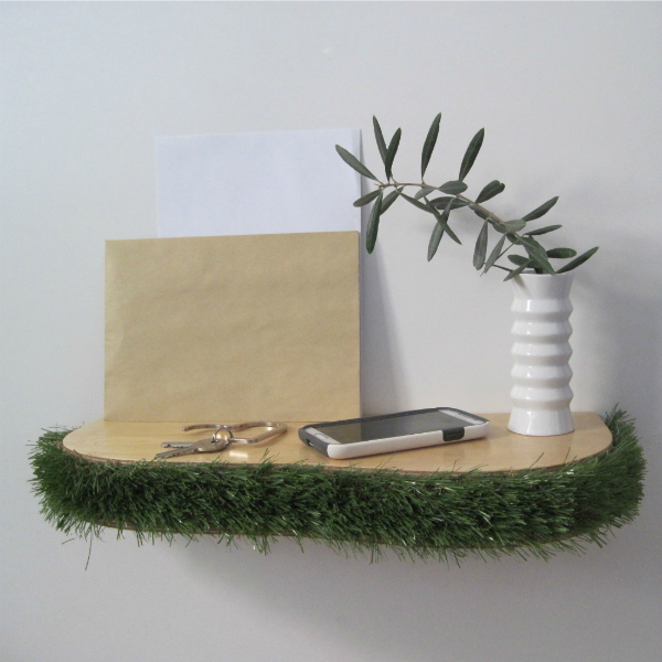 Grass floating shelf as a console table - from mochacasa