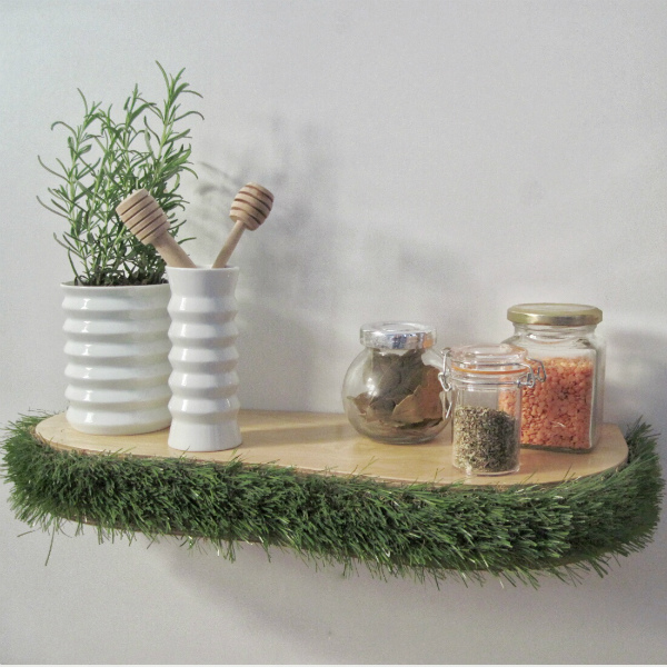Grass floating shelf is ideal for use as a kitchen shelf