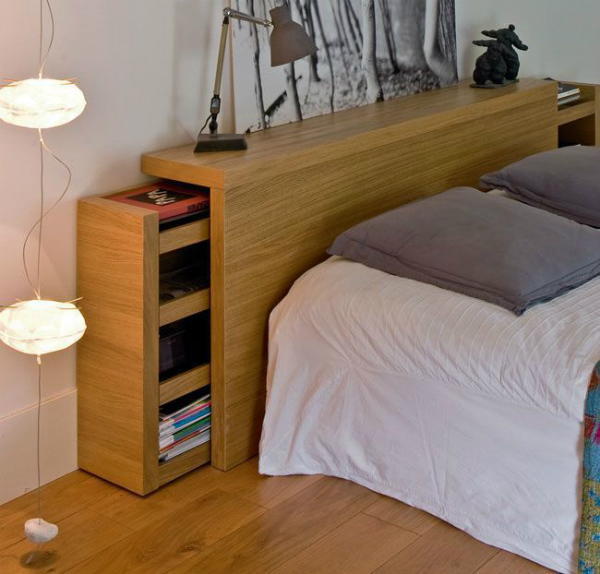 7 alternatives to bedside tables for small spaces mocha - Tete de lit bois avec rangement ...