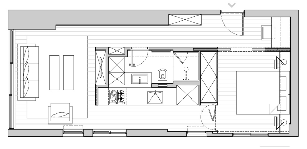 Plan of the renovated apartment in Tel Aviv by Sfaro Architects