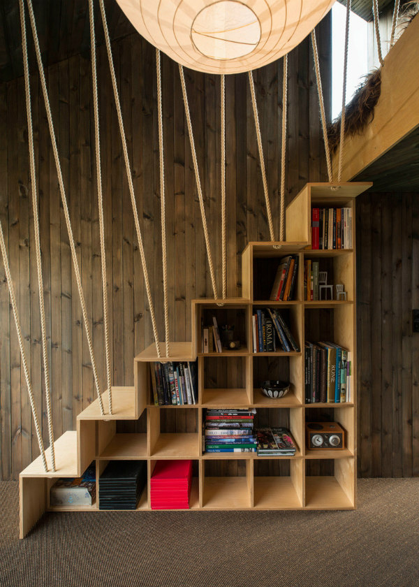 Stairs With Wood Bookshelves On Mocha Casa Blog
