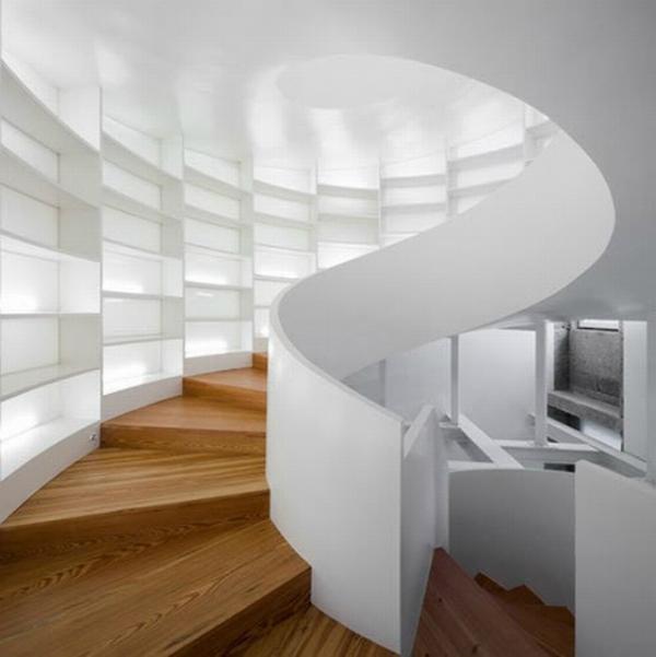 Wood stairs and white bookshelves - on Mocha Casa blog